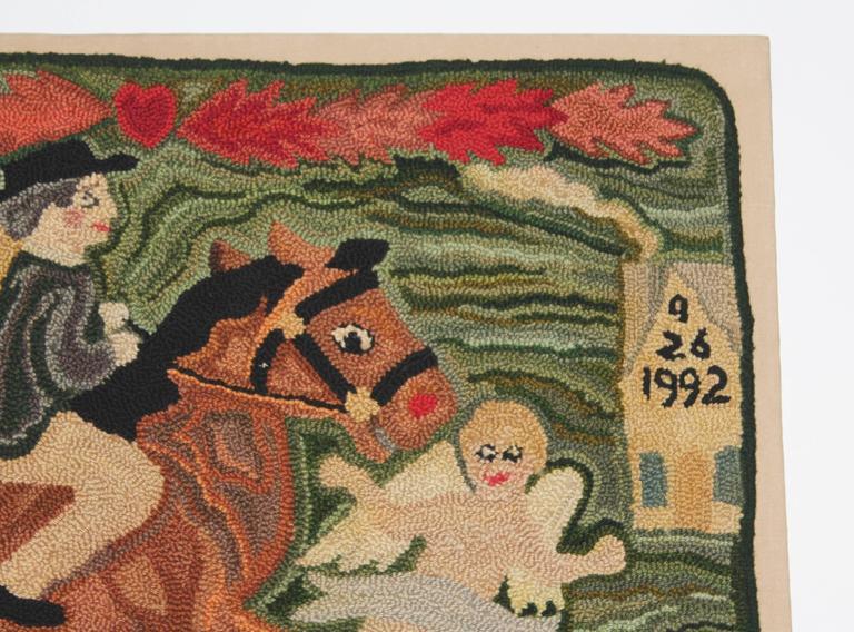 Folk Art Folky Mounted Hand-Hooked Rug on Stretcher Frame For Sale