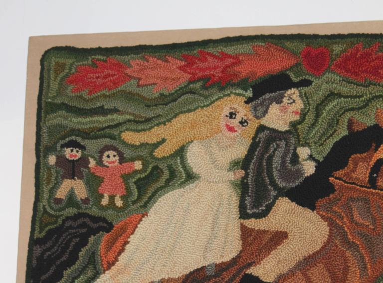 Hand-Woven Folky Mounted Hand-Hooked Rug on Stretcher Frame For Sale