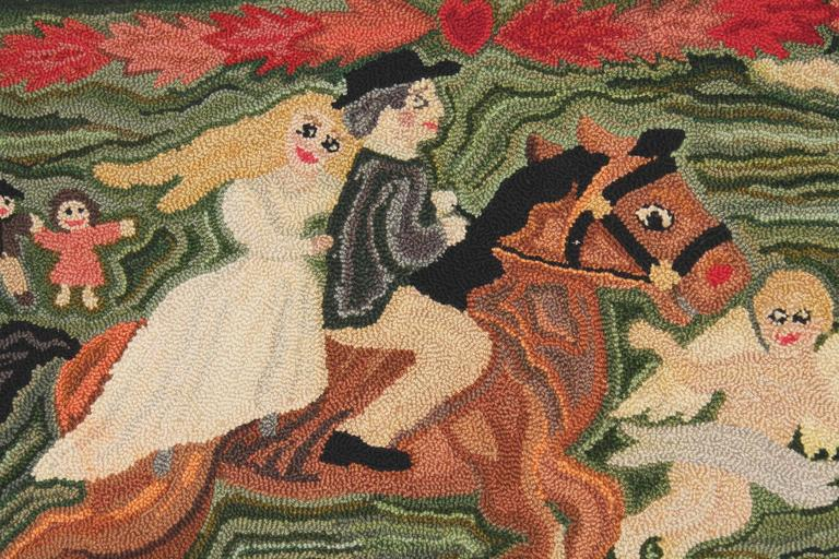 Folky Mounted Hand-Hooked Rug on Stretcher Frame In Excellent Condition For Sale In Los Angeles, CA