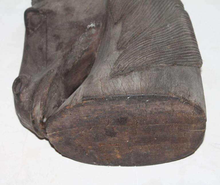 Hand-Carved Wood Horse Head For Sale 1