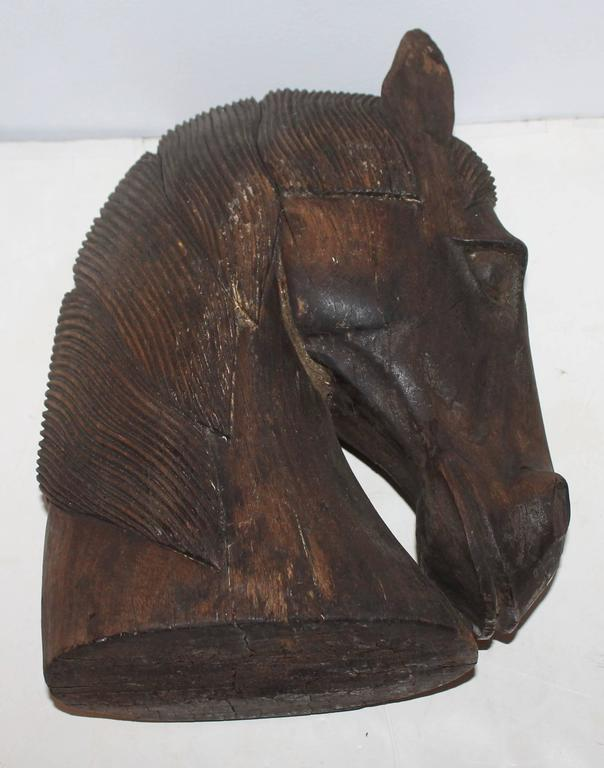 Hand carved wood horse head for sale at stdibs