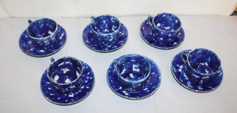Set of Six Rare American Spongeware Pottery Cups and Saucers 2