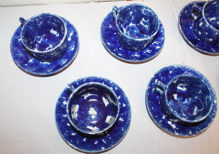 Set of Six Rare American Spongeware Pottery Cups and Saucers 3