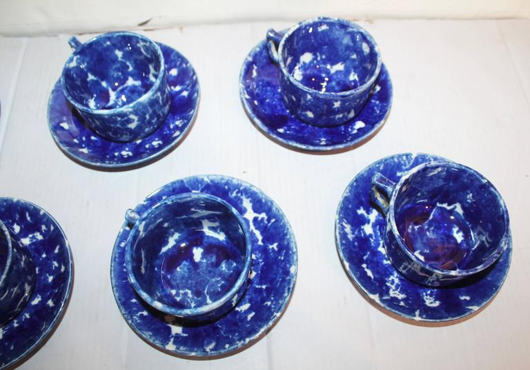 Set of Six Rare American Spongeware Pottery Cups and Saucers 4