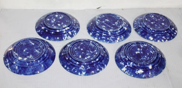 Set of Six Rare American Spongeware Pottery Cups and Saucers 5