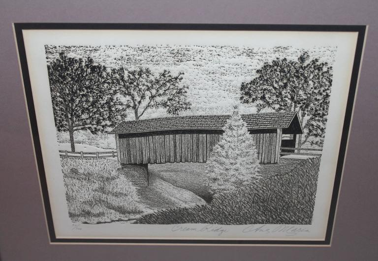 Adirondack Original Signed and Numbered Etching of Cream Ridge, New Jersey For Sale