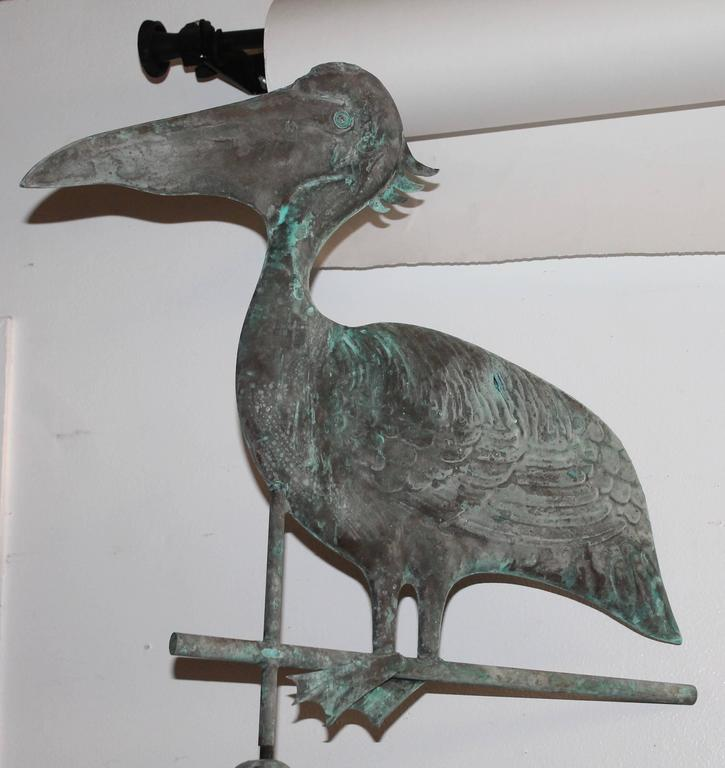 American Early 20th Century, Stork Weathervane with Original Directionals on Stand For Sale