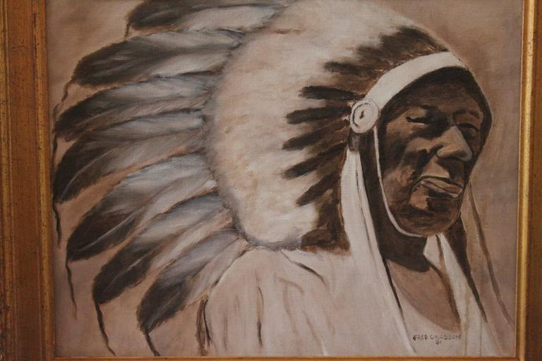 This fine oil painting of a Indian chief is in a custom made contemporary gilded wood frame. This listed artist Fred Crosson painting is also dated 1981 and in fine condition.