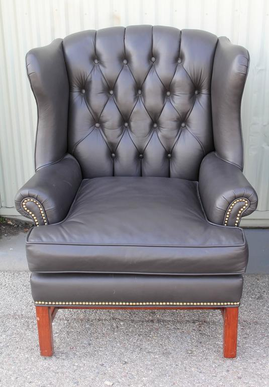 Pair of Mid-Century Dark Chocolate Leather Wing Chair 2