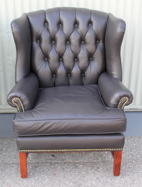 Pair of Mid-Century Dark Chocolate Leather Wing Chair 3