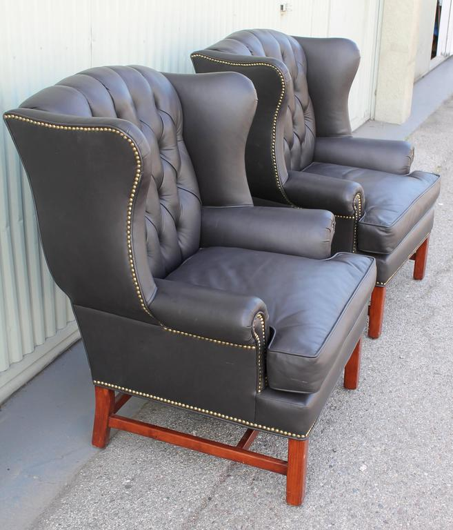 Pair of Mid-Century Dark Chocolate Leather Wing Chair 5