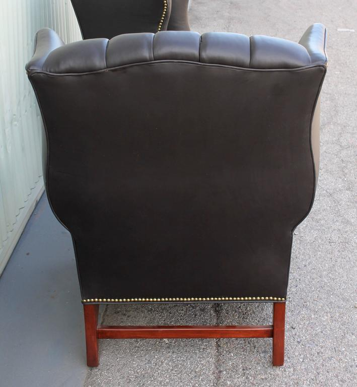 Pair of Mid-Century Dark Chocolate Leather Wing Chair 8