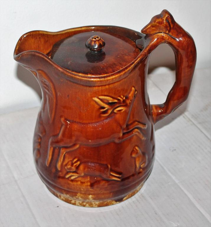 Rare 19th Century Rockingham Lided Water Pitcher 2