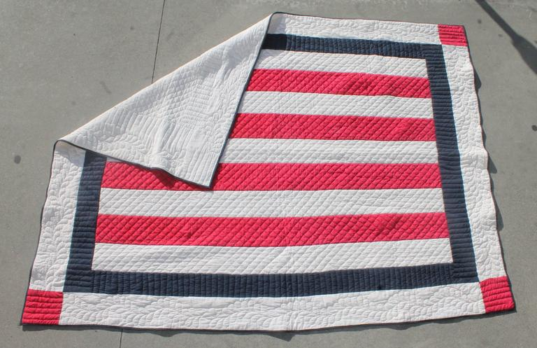 Patriotic Red, White and Blue Bars Quilt 2