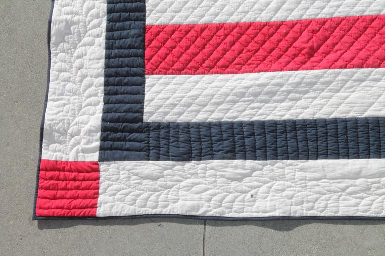 Patriotic Red, White and Blue Bars Quilt 4