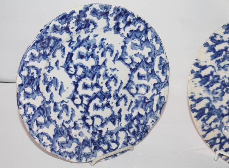 These early sponge pottery plates are 8 1/2