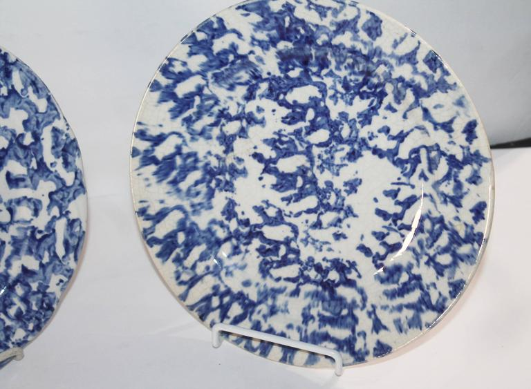 Country Pair of Early 19th Century Spongeware Pottery Plates For Sale