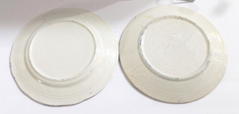 American Pair of Early 19th Century Spongeware Pottery Plates For Sale