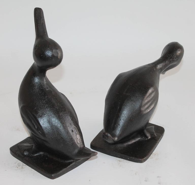 Forged 19th Century Original Black Painted Cast Iron Duck Door Stops, Pair For Sale