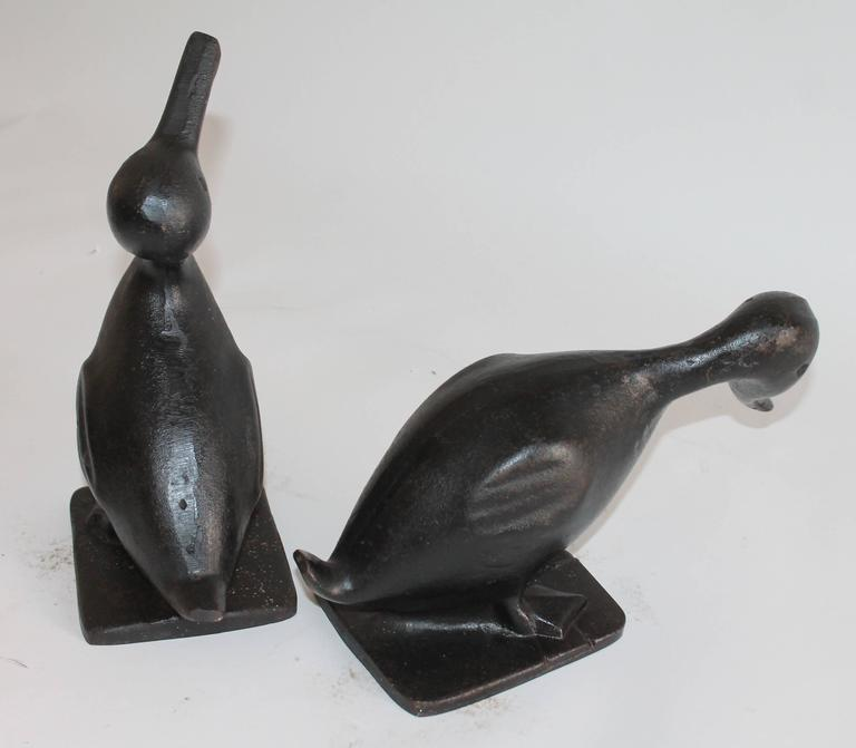 19th Century Original Black Painted Cast Iron Duck Door Stops, Pair In Excellent Condition For Sale In Los Angeles, CA