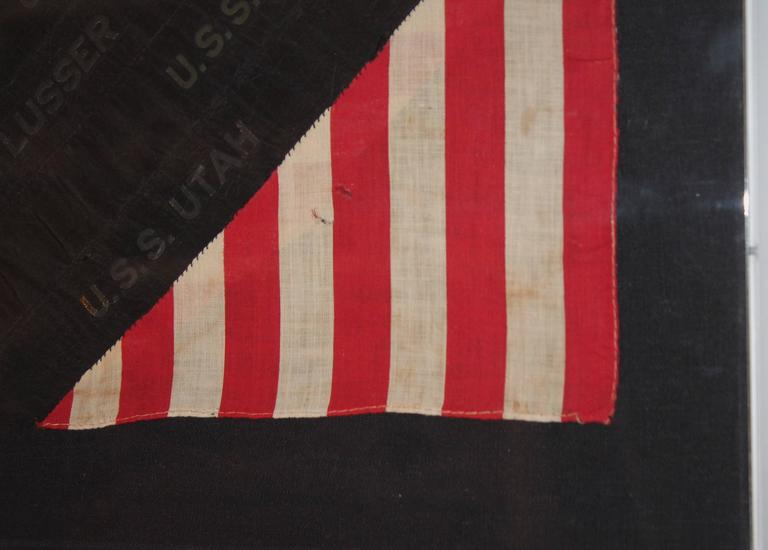 Framed Hand Sewn Patriotic Sham Made from a Flag and Ship Ribbons In Excellent Condition For Sale In Los Angeles, CA