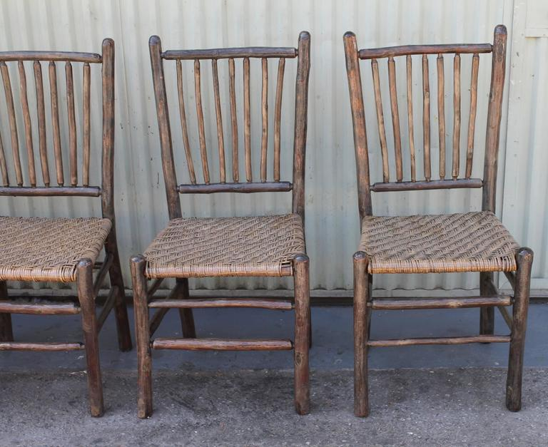 Signed Old Hickory Original Grey Painted Hickory Chairs At