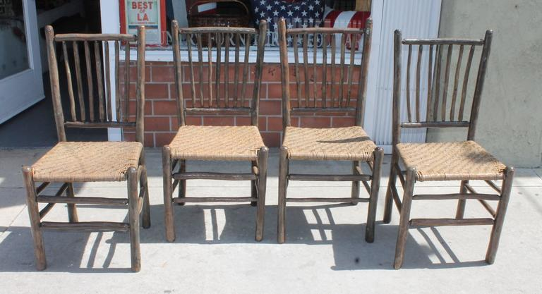 Bon Amazing Set Of Four Matching Original Grey Painted Rustic Hickory Dining  Chairs .The Seats Are