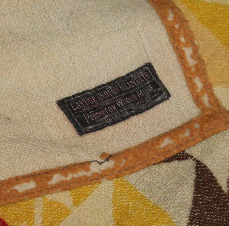 American Pendleton Cayuse Indian Blanket, Dated 1909 For Sale