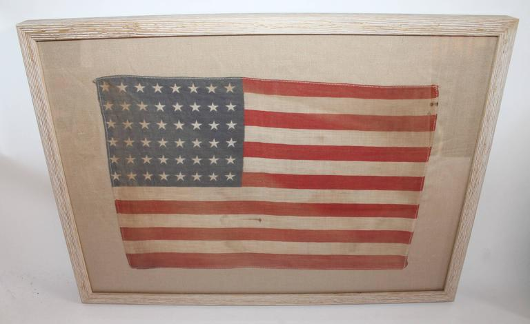 American Classical Pair of Framed 48 Star Parade Flags For Sale