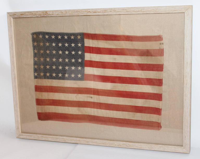 American Pair of Framed 48 Star Parade Flags For Sale