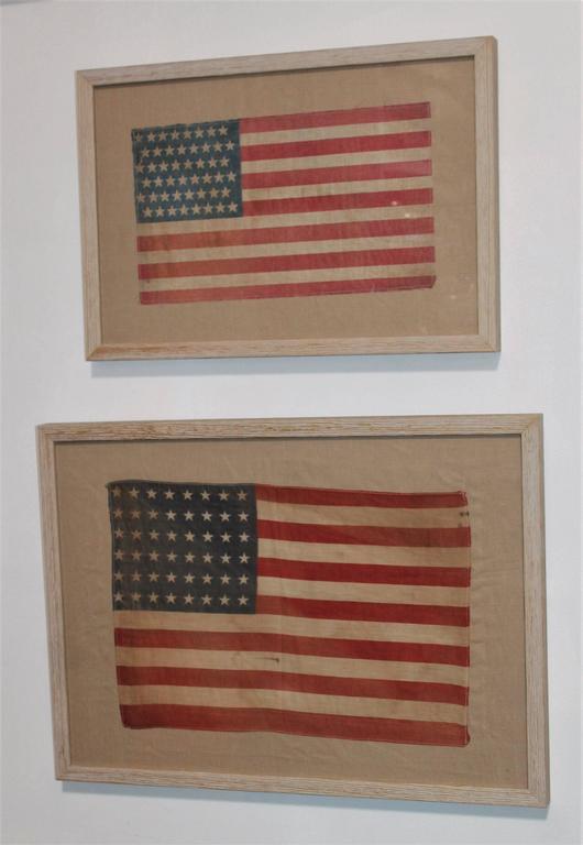 Pair of Framed 48 Star Parade Flags 2