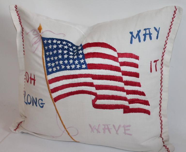 Vintage Patriotic Hand Sewn Flag Pillow 2
