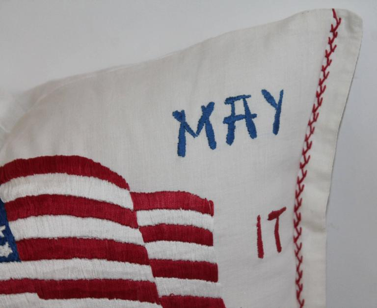Vintage Patriotic Hand Sewn Flag Pillow 4