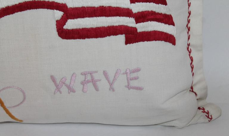 Vintage Patriotic Hand Sewn Flag Pillow 5