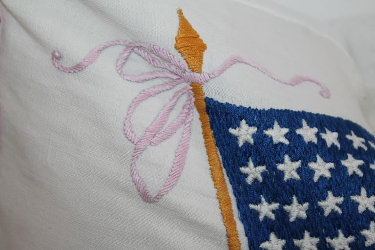 Vintage Patriotic Hand Sewn Flag Pillow 7