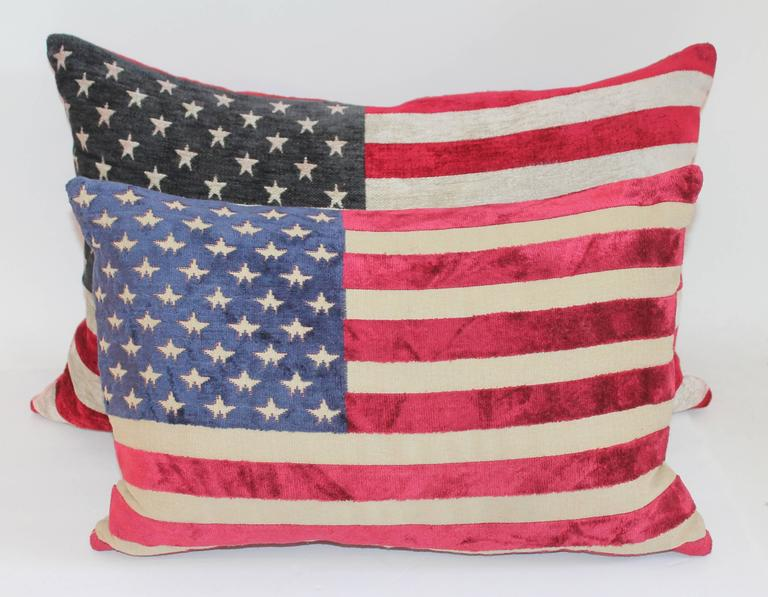 These soft fabric 50 star vintage flags made the coolest pillows. Sold as a pair, yet two different colors. The backings are in red and tan cotton linen. These are like Mid-Century flags. Great decorative velvet like pillows.
