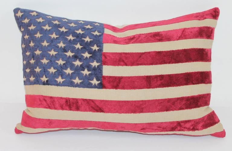 American Pair of Vintage 50 Star Flag Pillows For Sale