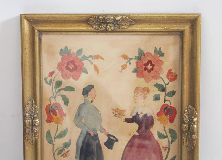This folky detailed water color was found in Pennsylvania and is in great condition. This froctor is in a old gilded frame as found. It is unsigned and dated 1878 on the reverse. This very folky water color is on paper and has slight overall