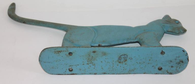 Original Blue Painted Iron Boot Scraper or Door Stop 5