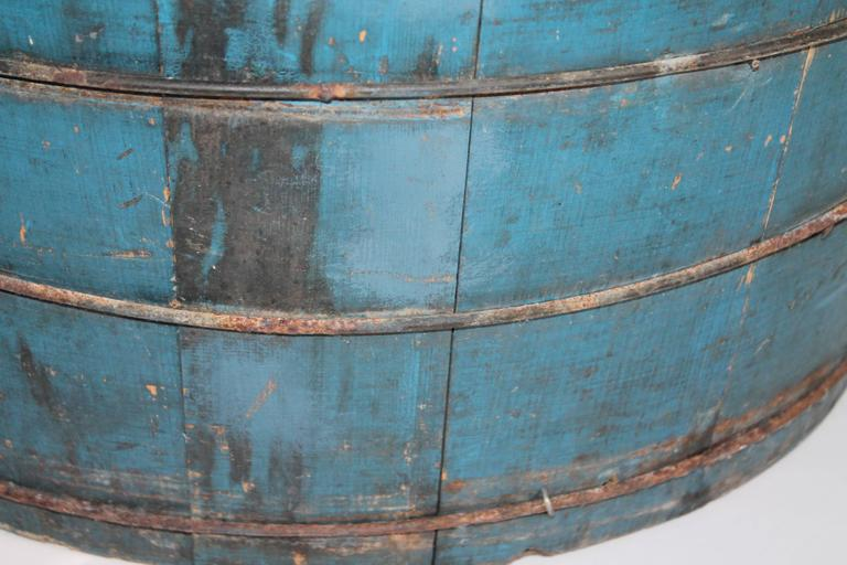 19th Century Original Blue Painted Double Handled Tub 4