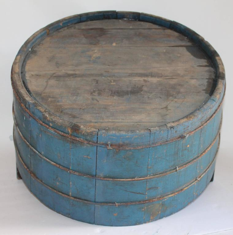 19th Century Original Blue Painted Double Handled Tub 7