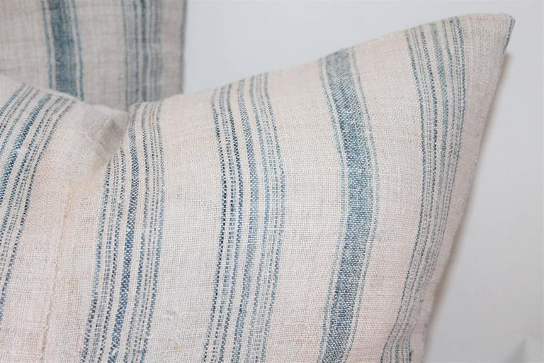 Hand-Woven Two Pairs of Striped 19th Century Linen Ticking Pillows For Sale