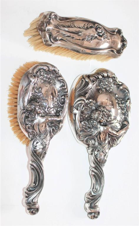 Art Nouveau Set Of Sterling Silver Brushes Comb And