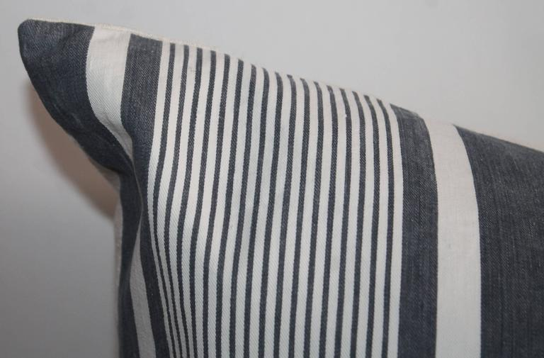 French Set of Four Wide Striped 19th Century Ticking Pillows For Sale