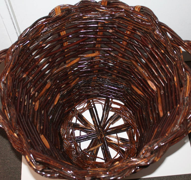 Rustic Monumental 20th Century Hickory Gathering Basket For Sale