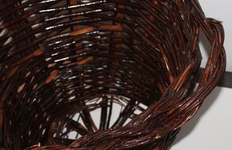 American Monumental 20th Century Hickory Gathering Basket For Sale