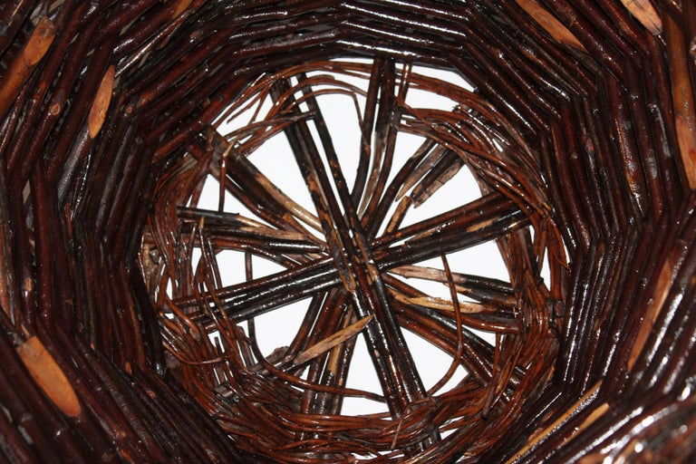 Woven Monumental 20th Century Hickory Gathering Basket For Sale