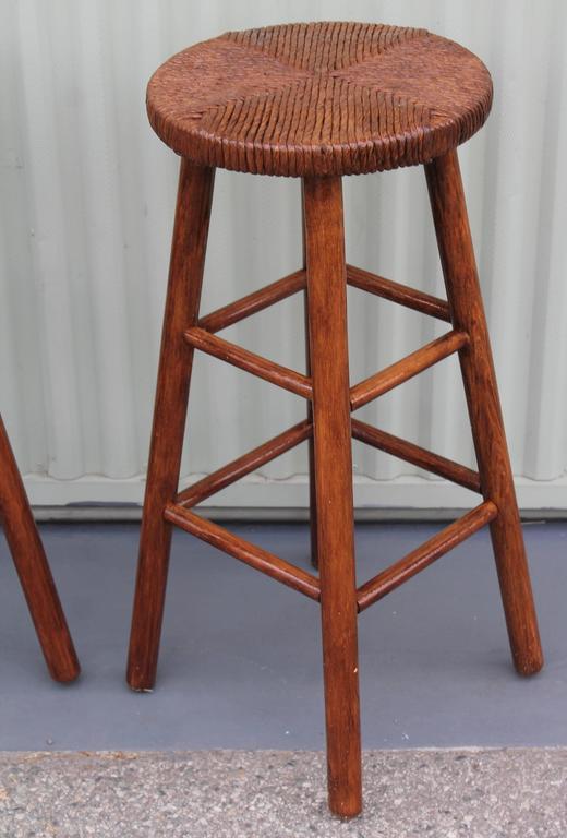 Adirondack Pair of Rustic Handmade Bar Stools For Sale