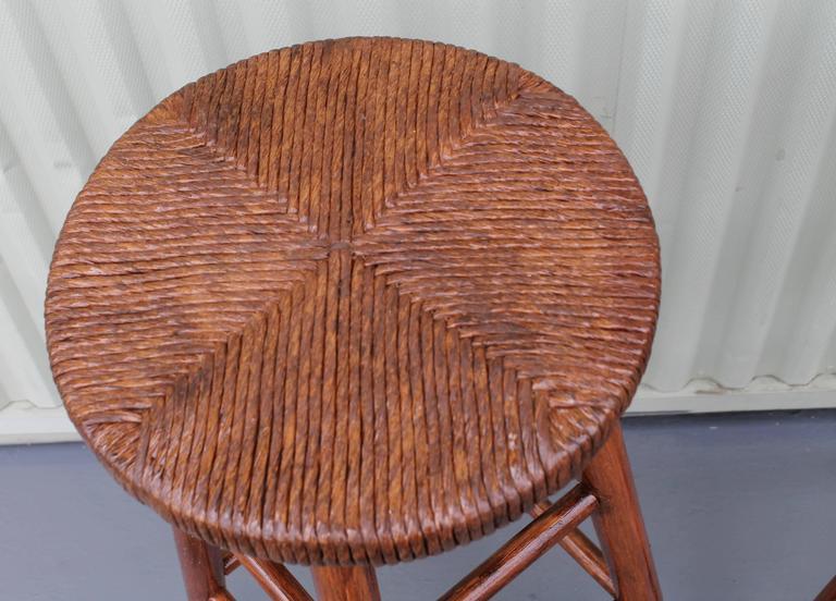 American Pair of Rustic Handmade Bar Stools For Sale