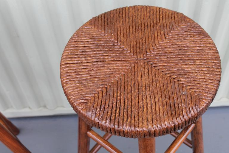 Varnished Pair of Rustic Handmade Bar Stools For Sale